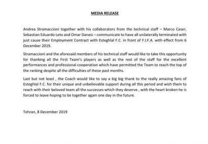 «آندره آ استراماچونی» با انتشار بیانیهای، به همراه دستیاران خود به طور یکطرفه قرارداد خود را با باشگاه استقلال فسخ کردند